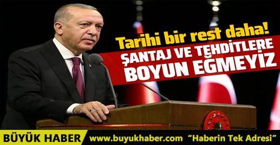 Cumhurbaşkanı Erdoğan: Doğu Akdeniz'de tehdit ve şantaja boyun eğmeyiz