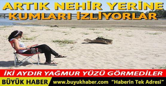 Edirne'de sıcaklar bastırdı, Tunca Nehri kurudu