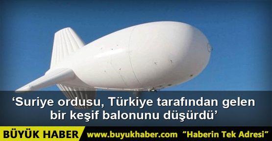 El-Alem Televizyonu: Suriye ordusu, Türkiye tarafından gelen bir keşif balonunu düşürdü