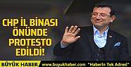 CHP İl Binası önünde taksicilerin İmamoğlu...