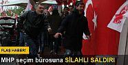 Sarıyer'de MHP seçim bürosu önünde...