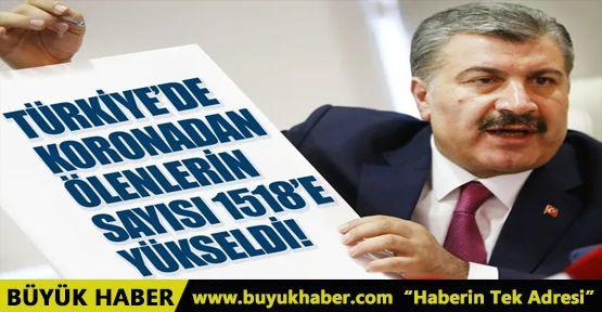 Türkiye'de koronadan ölenlerin sayısı 1518'e yükseldi
