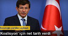 Başbakan Ahmet Davutoğlu Koalisyon görüşmeleri için tarih verdi
