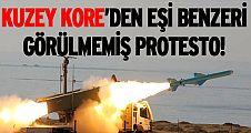 Kuzey Kore'den eşi benzeri görülmemiş protesto