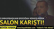 ABD'de Cumhurbaşkanı Erdoğan konuşurken ortalık karıştı