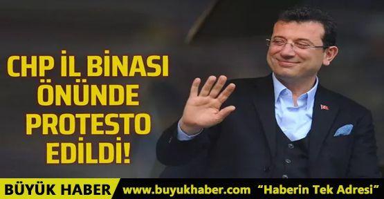 CHP İl Binası önünde taksicilerin İmamoğlu protestosu!