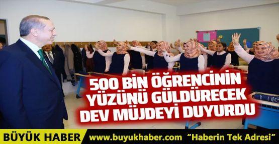 Cumhurbaşkanı Erdoğan'dan 500 bin öğrenciye müjde