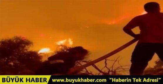 İbrahim Çelikkol da yangınla mücadeleye katıldı